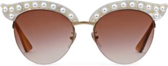 Gucci Cat eye acetate sunglasses with pearls