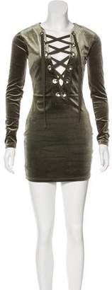 NBD Velvet Long Sleeve Mini Dress