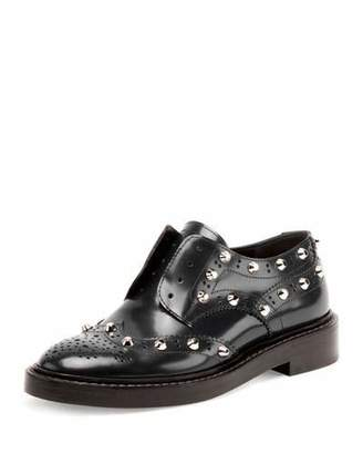 Balenciaga Studded Wing-Tip Derby Loafer, Bleu Obscur $885 thestylecure.com