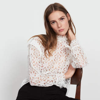 Sandro Lace top with high collar