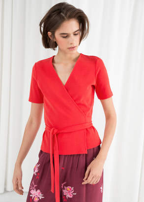 And other stories Ribbed Wrap Top