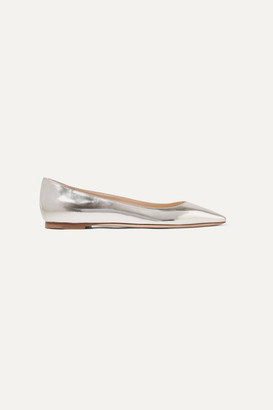 Jimmy Choo Romy Metallic Leather Point-toe Flats - Silver