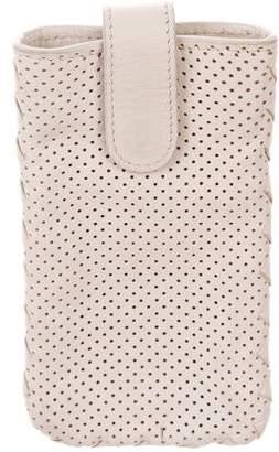 Bottega Veneta Leather Intrecciato-Trimmed Phone Case