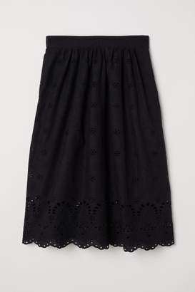 H&M Skirt with Eyelet Embroidery - Black