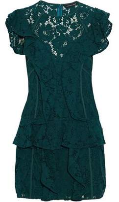 Marissa Webb Ruffled Corded Lace Mini Dress