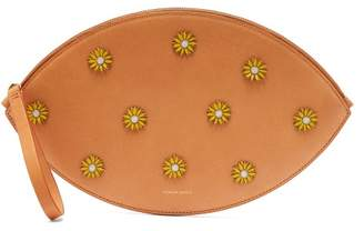 Mansur Gavriel Cammello Floral Embellished Oval Clutch - Womens - Tan Multi