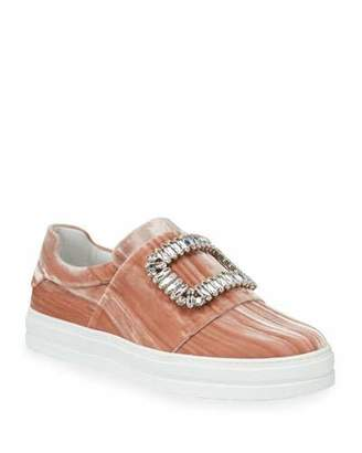 Roger Vivier Sneaky Viv Strass Stripe Velvet Platform Sneakers