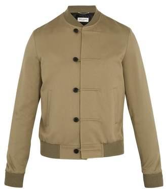 Saint Laurent - Contrast Trim Cotton Blend Twill Bomber Jacket - Mens - Khaki
