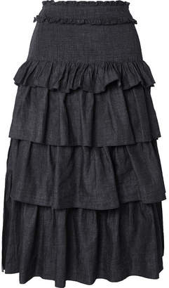 See by Chloe Tiered Denim Midi Skirt - Midnight blue