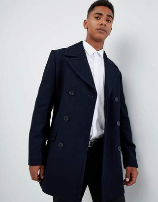 French Connection Wool Blend Double Breasted Pea Coat