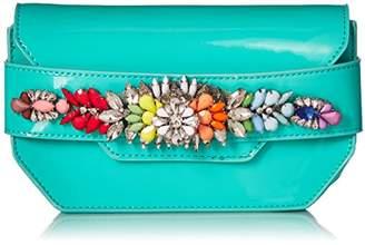 Steve Madden Pauline Patent Multi Colored Jewels and Rhinestones Clutch Crossbody