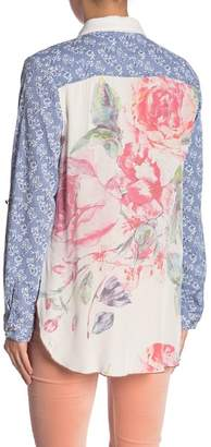 ARATTA Long Sleeve Floral Mixed Media Button Up Blouse