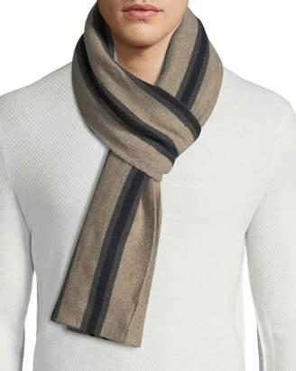 Portolano Men's Cashmere-Blend Striped Scarf