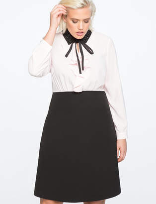 ELOQUII Embellished Collar Shirt Dress