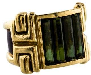 La Nouvelle Bague 18K Green Tourmaline & Red Enamel Ring