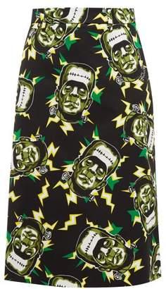 Prada Frankenstein's Monster Print Cotton Pencil Skirt - Womens - Black Green