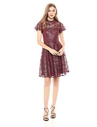 Betsey Johnson Women's Short Sleeve Mock Neck Lace Dress