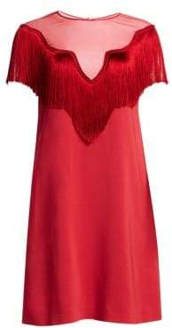 Alberta Ferretti Women's Short Sleeve Fringe Shift Dress - Red - Size 40 (4)