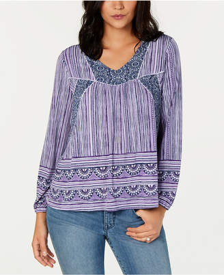 Style&Co. Style & Co Printed Peasant Top, Created for Macy's