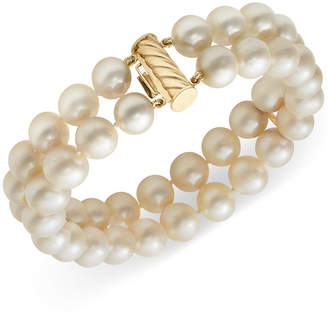 Belle de Mer Cultured Freshwater Pearl Two-Row Bracelet in 14k Gold (8-1/2mm)