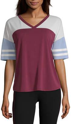 Flirtitude Long Sleeve V Neck T-Shirt-Womens Juniors