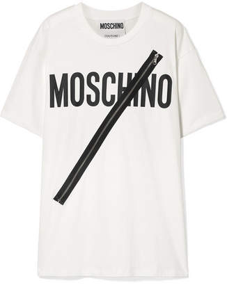 Moschino Zip-embellished Printed Cotton-jersey T-shirt
