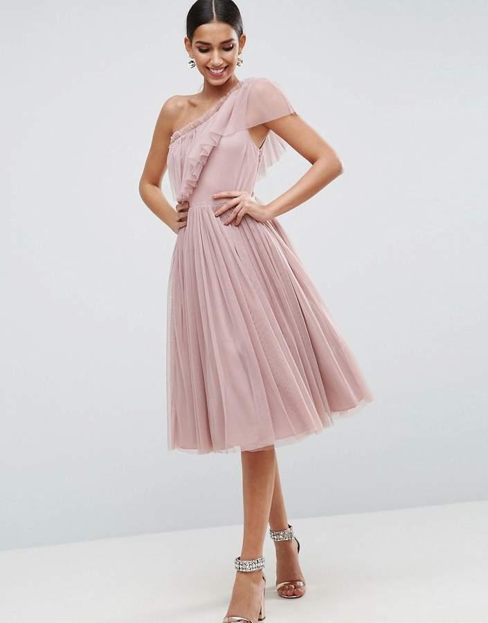 AsosASOS Tulle One Shoulder Midi Dress