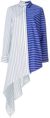 Off-White striped asymmetric shirt