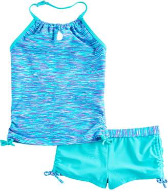 Free Country Girls 4-16 Space-Dyed Adjustable Halter Tankini Top & Shorts Swimsuit Set