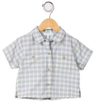 Marie Chantal Boys' Plaid Short Sleeve Shirt w/ Tags