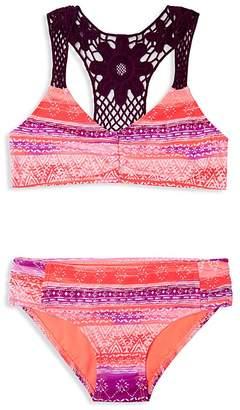 Gossip Girl Girls' Crochet Trimmed Print 2-Piece Swimsuit - Big Kid