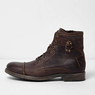 River Island Dark brown leather lace-up military boots