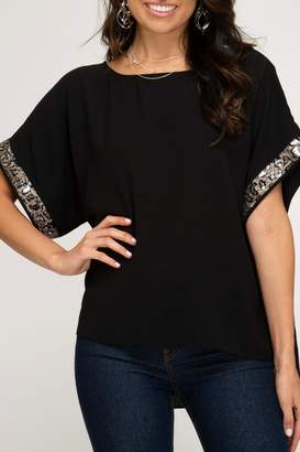 She + Sky Sequined Sleeve Top