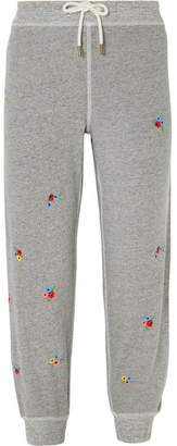 The Great The Cropped Embroidered Cotton-blend Jersey Track Pants - Gray