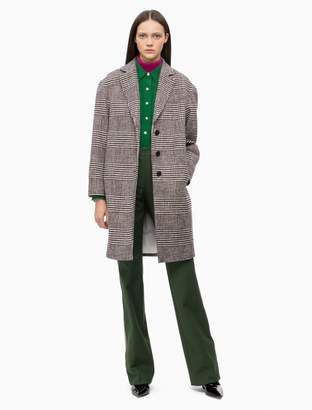 Calvin Klein wool blend check coat
