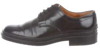 Tod's Leather Round-Toe Oxfords Black Leather Round-Toe Oxfords