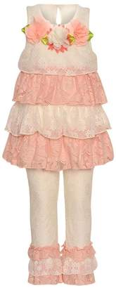 Rare Editions Baby Girls Coral Lace Tiered Floral 2 Pc Legging Set 6M