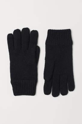 H&M Knit Wool-blend Gloves - Black