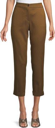 Etro High-Rise Straight-Leg Tile-Print Cropped Pants