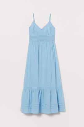 H&M Long Dress with Lace Details - Blue