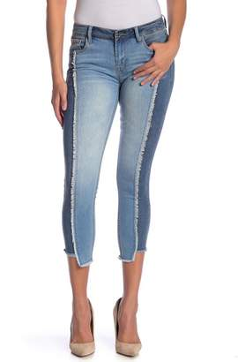 Kensie Two-Tone Frayed Skinny Jeans