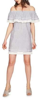 1 STATE 1.State Off-the-Shoulder Popover Linen Blend Dress