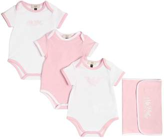 Armani Junior Set Of 3 Cotton Jersey Bodysuits