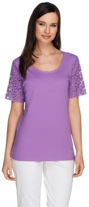 Liz Claiborne New York Short Sleeve Lace Sleeve T-shirt