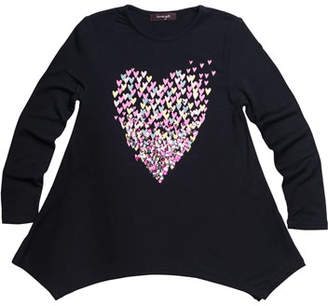 Imoga Multicolor Sequin Heart Graphic Jersey Tunic, Size 4-6