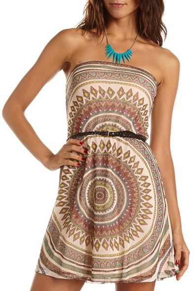 Charlotte Russe Belted Tribal Mesh Tube Dress