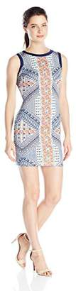 My Michelle Junior's Sleeveless Fitted Dress in Scuba Print Down Front