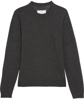 Maison Margiela - Suede-paneled Wool Sweater - Dark gray $495 thestylecure.com