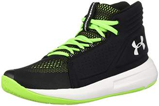 Under Armour Boys' Ua BGS Torch Mid Basketball Shoes, (Black/Hyper Green/White), (38 EU)
