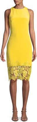Theia Sleeveless Sheath Cocktail Dress w/ Lace Hem